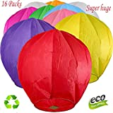 Nuluphu 100% ECO Biodegradable Flying Chinese Sky Lanterns, No Assembly Required(No Metal Wires) Mix Wish Lights for Weddings, Birthdays, Memorials (Pack of 16) (Huge)