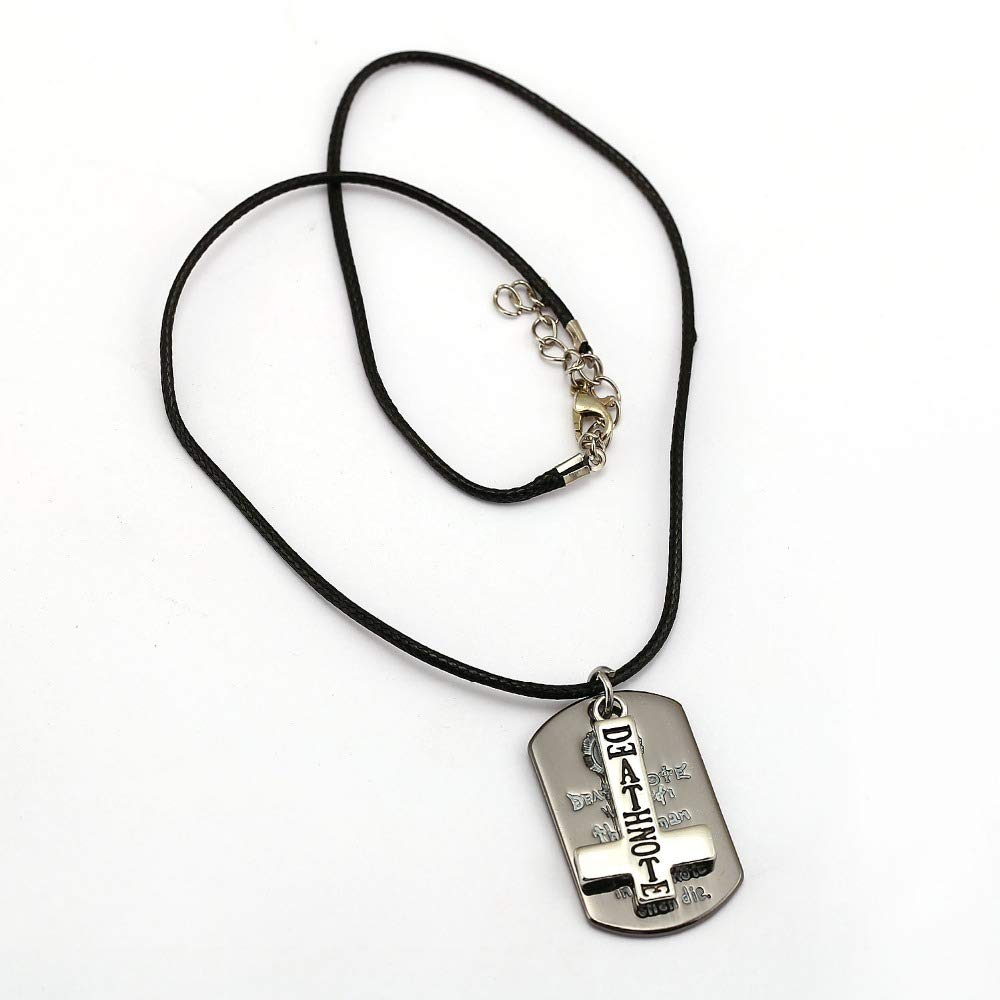 Inveroo Anime Death Note Cross Pendant Necklace Chocker Dog Tag Necklace for Women Men Jewelry