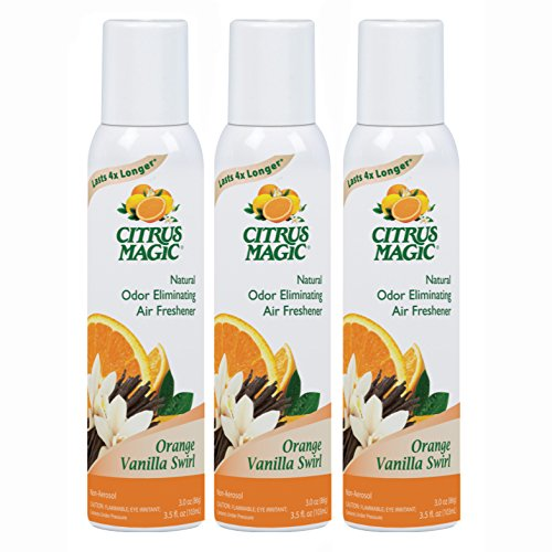 Citrus Magic Natural Odor Eliminating Air Freshener Spray Orange-Vanilla Swirl, Pack of 3, 3.0-Ounces Each by Citrus Magic