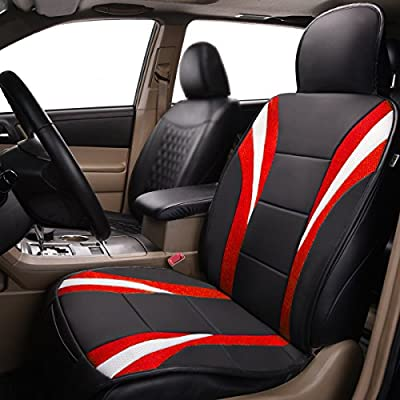 CAR PASS Delux Sideless Universal Fit Car Seat Cover for 1 Set with Carriage Bag Red, Single Seat