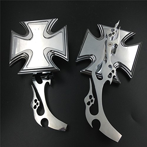 Mirrors Billet Flame (XKH Group Maltese Cross Emblem Flame Style Chromed Billet Custom Running Acrylic Mirrors Universal Fit All Honda Kawasaki Suzuku Cruiser Bike Models by XKH)