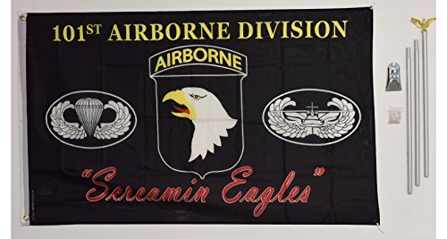 Silver Screamin Eagle - 3x5 101st Airborne Division Screamin Eagles Black flag with 6 ft Brushed Silver Aluminum Residential Commercial Advertising Flagpole Pole Kit Set (Eagle Top)
