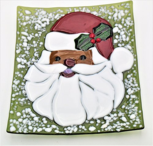 - African-American Santa Cookie Christmas Decorative Platter Handcrafted Fused Glass