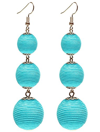 Ghome Thread Ball Dangle Earrings,Drop Earrings Wrapped Triple Balls Beaded Ball Ear Drop Charm Jewelry for Women Girls (02:Turquoise ball) ()