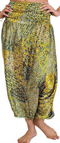 Flowers Exotic India Lemon And nbsp;harén Trousers nbsp;– Satén Printed Harén With Chrome Singh rrUqFg8x