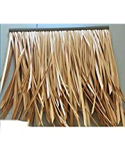 Artificial Thatch,Fake Thatch Palm Thatch Roll Simulation of Thatch Tile Man-Made Thatch Fake Straw Artificial Plastic PE Pavilion Thatched Roof Decoration (Color : YellowB-6pcs, Size : 50x50cm)