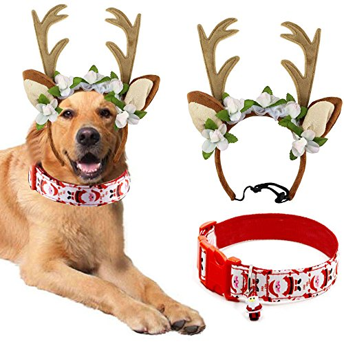 Bolbove Pet Christmas Lace Flower Antler Head Band and Santa Collar for Medium to Large Dogs (Large) ()