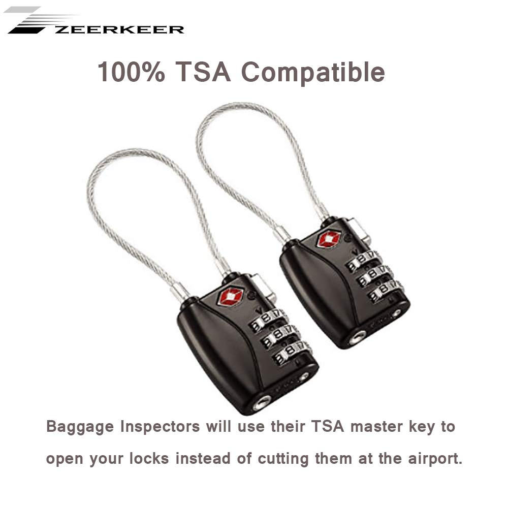 Small 3 Dial Combination Padlock Ideal Added Security for Suitcases and Backpacks Travel Locks Which Also Work Great as Gym Locks Toolbox Lockand more ZEERKEER TSA Approved Luggage Locks