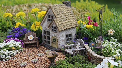 Miniature fairy garden cottage and accessories 11 piece starter kit by WFG. Free fairy garden landscape pebbles. Create Your Own Magical Miniature Fairy Garden.
