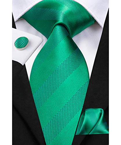 (Dubulle Mens Kelly Green Stripe Necktie with Cufflinks Pocket Square Solid Color Silk Tie Gift)