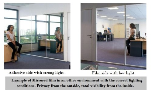 Silver reflective window film solar control privacy tint one way mirror mirrored glass 76cm x 2 metre 76cm x 1 metre 10 metre amazon co uk