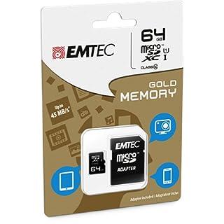 EMTEC 64 GB Class 10 Mini Jumbo Ultra MicroSDXC Memory Card with Adapter
