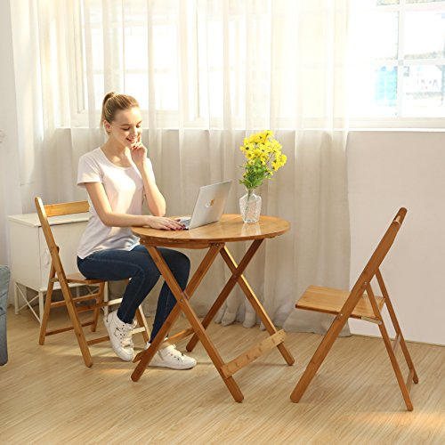 UNICOO - Bamboo Round Folding Table With Two Folding Chairs, Outdoor and Indoor Folding Bistro Set 3 Piece Patio Table and Chairs Set (T70-R) (Breakfast Chairs)