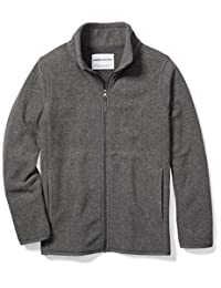 Amazon Essentials Big Boys' Full-Zip Polar Fleece Jacket, Grey Charcoal Heather, Medium