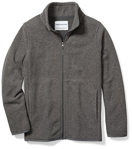 Polar Fleece Zip Jacket (Amazon Essentials Boys' Full-Zip Polar Fleece Jacket, Grey Charcoal Heather, Medium)
