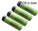 NCR18650B 3.7 Volt 18650 3400 mAh Rechargeable Li-ion Battery for Panasonic [4pcs] by Panasonic