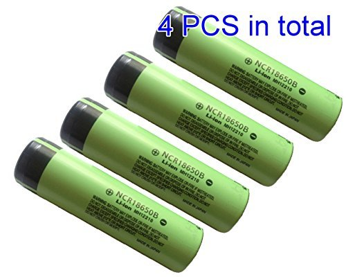NCR18650B 3.7 Volt 18650 3400 mAh Rechargeable Li-ion Battery for Panasonic [4pcs] by Panasonic (Panasonic Li Ion)