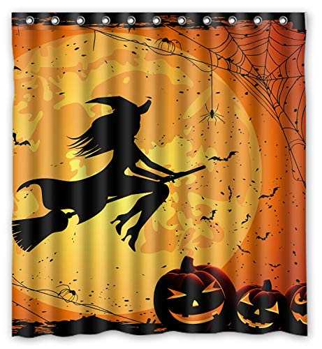 ZHANZZK Happy Halloween Witch Moon Pumkin Bats Bathroon Waterproof Shower Curtain 60x 72 Inches -