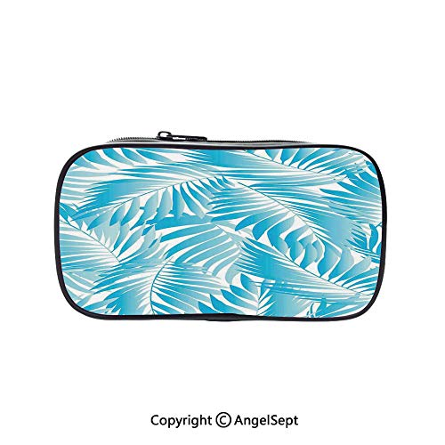 Two Big Pockets for Executive Fountain Pen,Miami Style Tropical Aquatic Palm Leaves with Exotic Colors Summer Beach Decorative Turquoise Aqua Blue 5.1inches,Multi-Functional 72 Slots Colored Pencil C ()