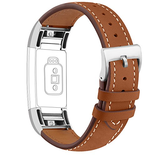 iGK Leather Replacement Bands Compatible for Fitbit Charge 2, Genuine Leather Wristbands New Brown with Metal Connectors