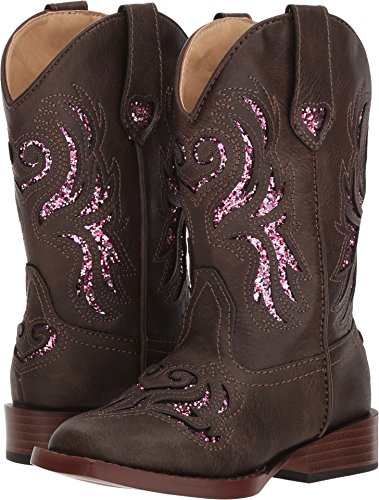 Roper Girls' and Glitter Breeze Cowgirl Boot Square Toe Brown 3 D