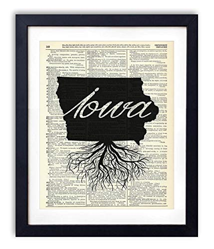 Iowa Home Grown Upcycled Vintage Dictionary Art Print 8x10 (Iowa Art)