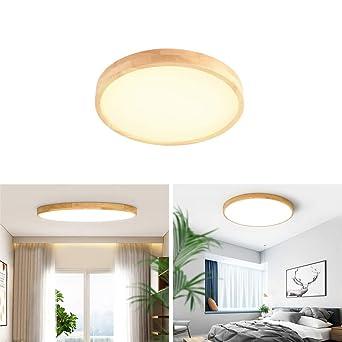 Deckenleuchte Holz Lampe Rund Holzlampe Eiche Deckenlampe