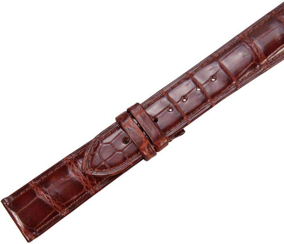 ZHXHX Montre en Cuir Crocodile avec Boucle à Ardillon Montre en Cuir Cousue à La Main RéSistante à l'usure Et à Boucle Papillon Dark Brown 18mm Dark Brown 14mm