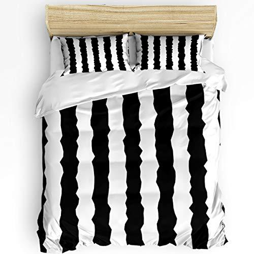(KAROLA Bedding Duvet Cover Set Comforter Cover with Zipper Closure (1 Duvet Cover + 2 Pillow Cases) Ultra Soft Microfiber,Black and White Vertical Stripes Full Size - 3pcs (86