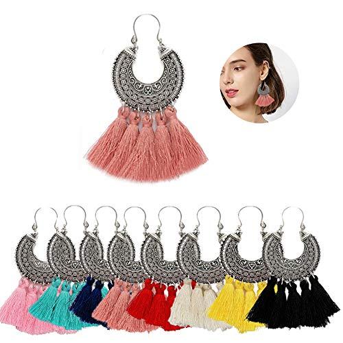 - AMCHIC Fan Shape Bohemian Statement Silky Tassel Fashion Earrings for Women Dangling,Thread Fringe with Vintage Ethnic Pattern Metal Drop Pendant Earrings,Ladies' Gift,Peach