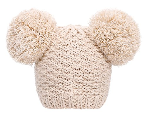 Simplicity Women's Winter Warm Cable Knit Pom pom Ski/Snowboard Beanie Hats Beige Cable Knit Snowboard Beanie