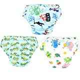 Wegreeco Baby & Toddler Snap One Size Reusable Baby Swim Diaper (Diving,Ocean,Turtle,Small,3 Pack)
