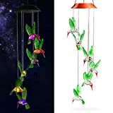 Solar Hummingbird Wind Chimes Lights,Color-Changing Powered LED Waterproof Hanging Changing Lamp Lighting for Home Decoration Party Outdoor Night Garden Balcony Landscape Yard Porch Indoor
