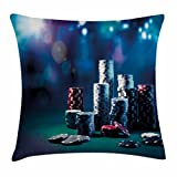 Poker Tournament Throw Pillow Cushion Cover by Lunarable, Gaming Table with Poker Chips Dramatic Display Vegas Leisure Art Print, Decorative Square Accent Pillow Case, 26 X 26 Inches, Multicolor