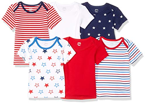 (Amazon Essentials Baby 6-Pack Lap-Shoulder Tee, Uni Americana,)