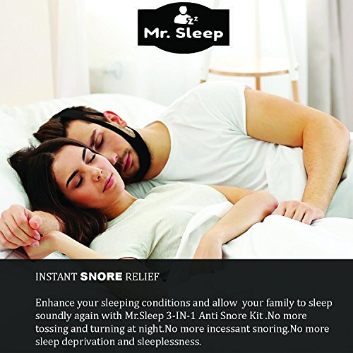 Snoring Solution,3 in 1 Anti Snoring Devices,Nose Vents,Nasal Dilators,Anti Snoring Mouthpiece,Snoring Mouth Guard,Anti Snoring Chin Strap Included,Snore Stopper-Designed by Mr.Sleep by Mr.Sleep (Image #1)