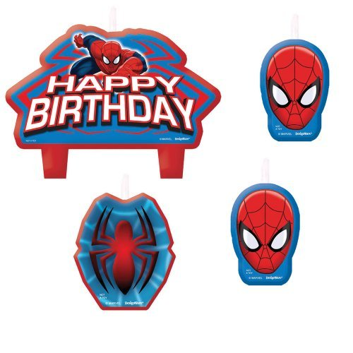 Spiderman Birthday Candles - Birthday and Theme Party Supplies - 4 Per Pack