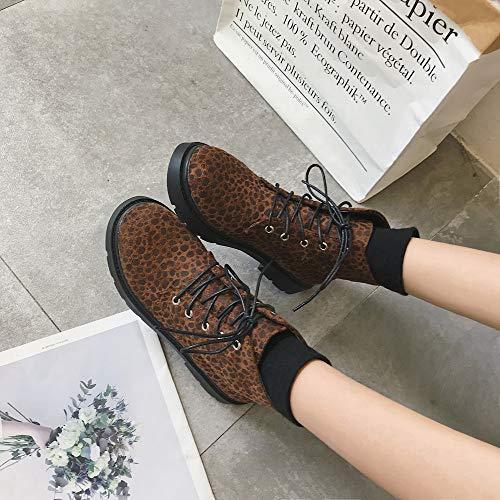 Bootie Les Brun Lopard Chaussures Mode Imprim Et Pour Carrs Au Rond Chaud Dames Kobay Talons Martain Femmes Garder Bout B4xqPZnwn