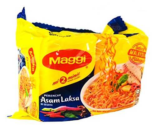 Maggi 2 Minute Noodles Asam Laksa Flavour - 78g - Pack of 5 (78g x 5)