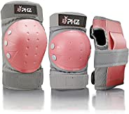PHZ Kids/Adults 3 in 1 Skateboard Protective Gear Set Knee Pads Elbow Pads Wrist Guards for Rollerblading Skat