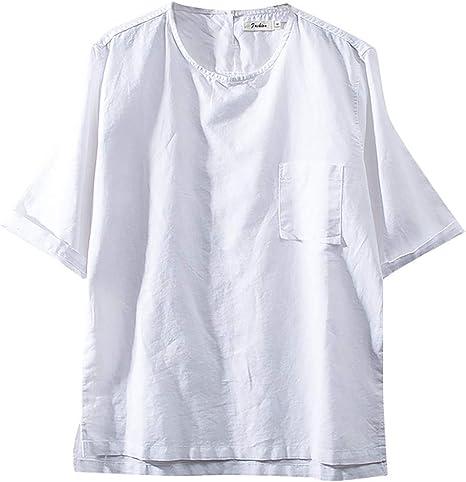 OrchidAmor - Camiseta de Manga Corta para Hombre, Muy cómoda, de Lino y algodón, Color Liso, 2019 - Blanco - 3X-Large: Amazon.es: Ropa y accesorios