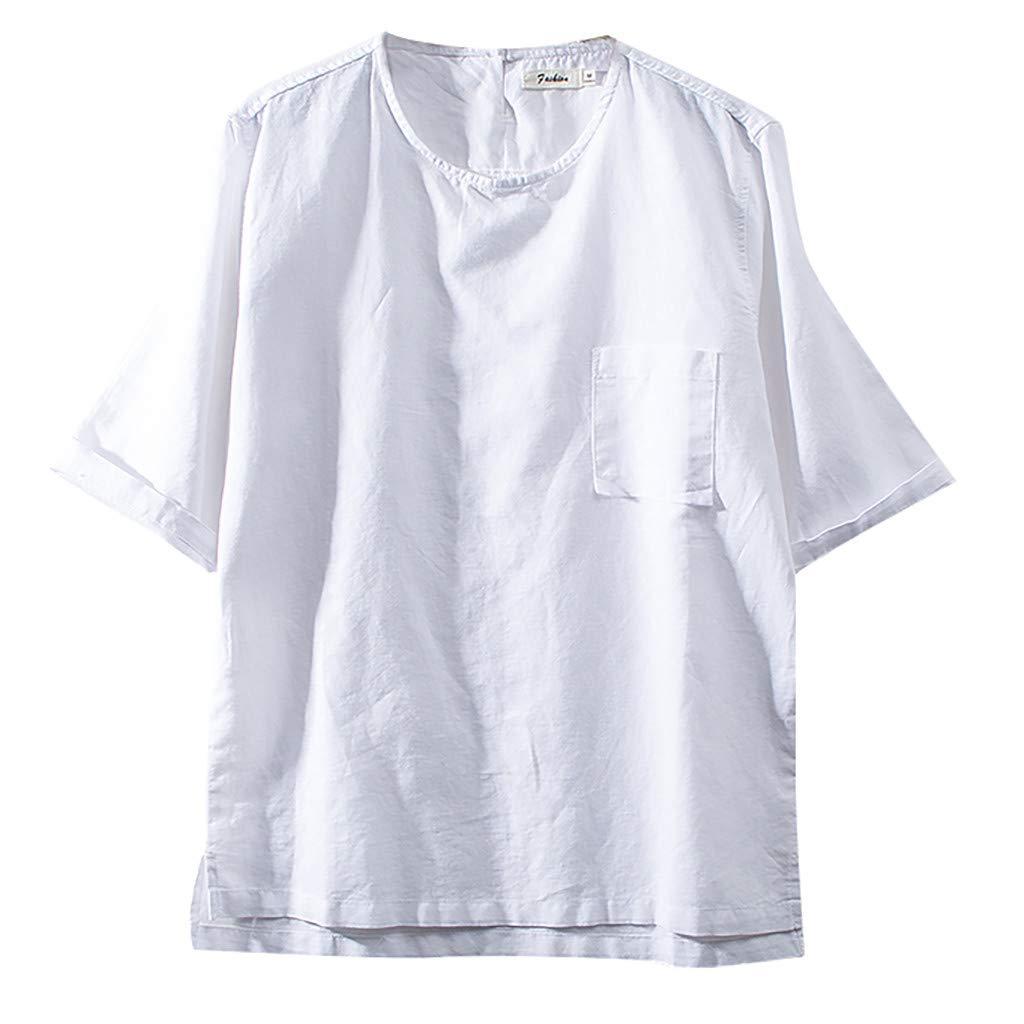 Big Sale! Sharemen Men's T-Shirt Short Sleeve Fit Cotton Fashion Linen Solid Color Pocket Top(White,M)