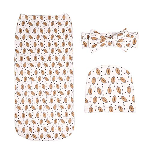 3Pcs Set Newborn Baby Cartoon Printing Headbands Hat and Swaddle Cocoon Sack (Rugby) ()