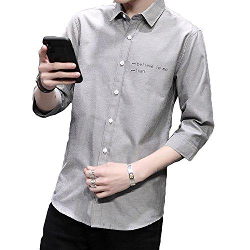 Bosson 夏服 メンズ シャツ 七分袖 半袖 無地 ワイシャツ スポーツ アウトドア 夏 シンプル カジュアル