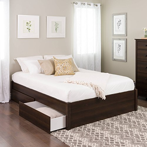 Slat Prepac - Queen Select 4-Post Platform Bed with 4 Drawers, Espresso