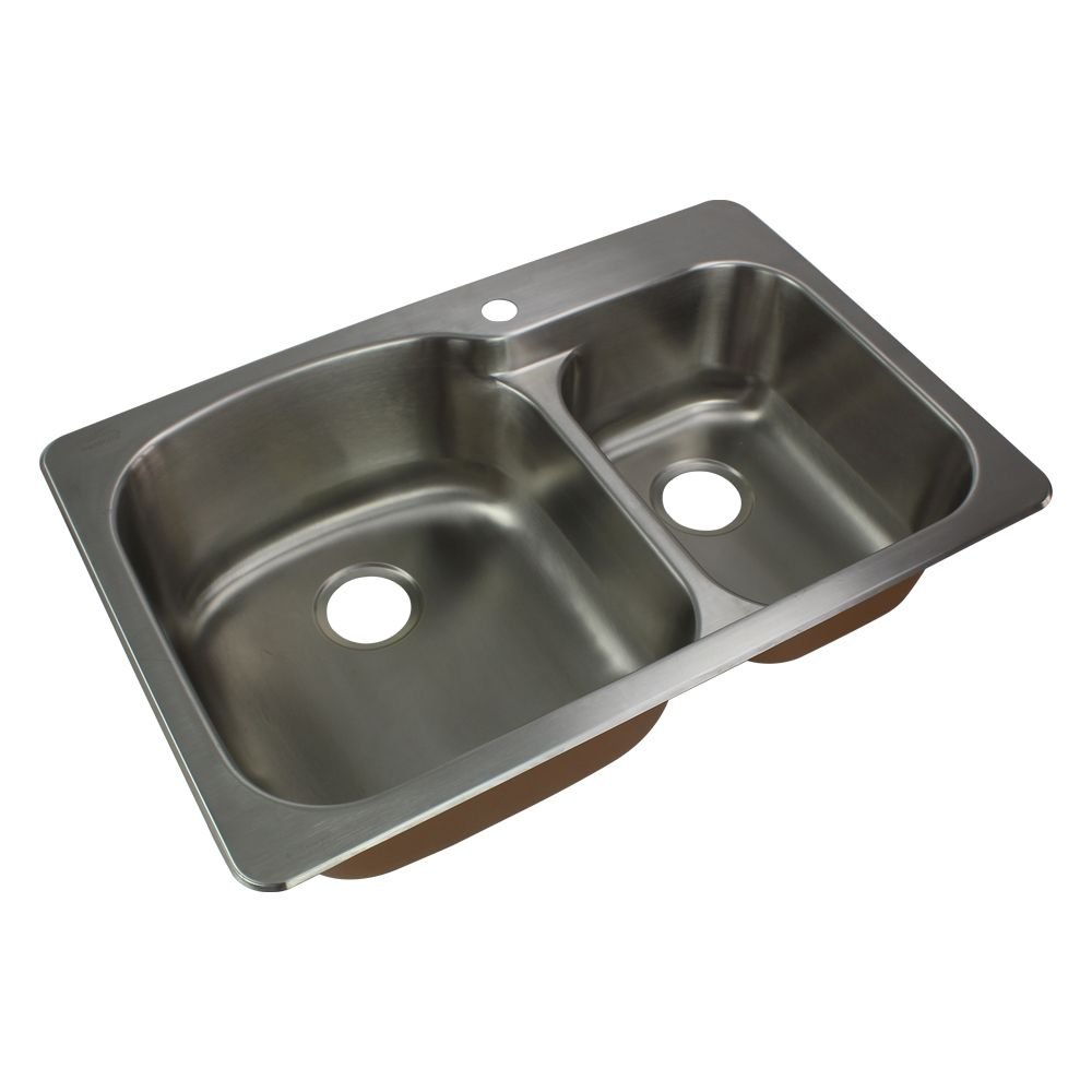 Transolid CTDD33229-1 Classic 33-in x 22 1/64-in x 9-in Offset 75/25 Double Basin Drop-in Stainless Steel Kitchen Sink with 1 Faucet Hole