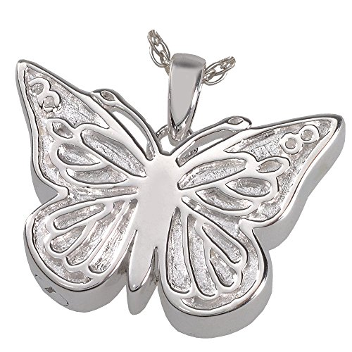Memorial Gallery MG-3288s Perfect Filigree Butterfly Sterling Silver Cremation Pet Jewelry by Memorial Gallery
