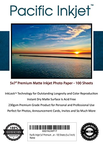 Pacific Inkjet - Premium Matte Inkjet Photo Paper - 100 Sheets 230sm 8.5mil (5-x-7-inch) by Pacific Inkjet