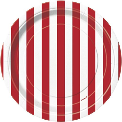 Red Striped Paper Cake Plates, 8ct (Red And White Halloween Cake)