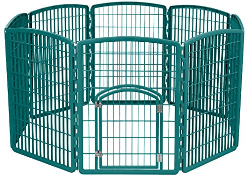 - IRIS Exercise 8 Panel Pen Panel Pet Playpen with Door - 34 Inch, Green